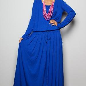Royal Blue Maxi Dress - Long Sleeve..