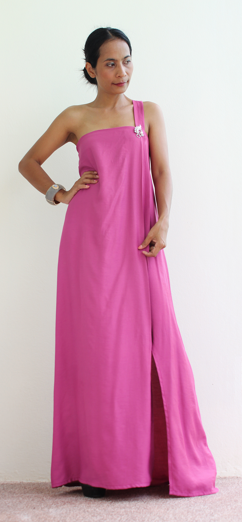 Maxi Dress with high split - Fuchsia Halter Dress : Classic Collection