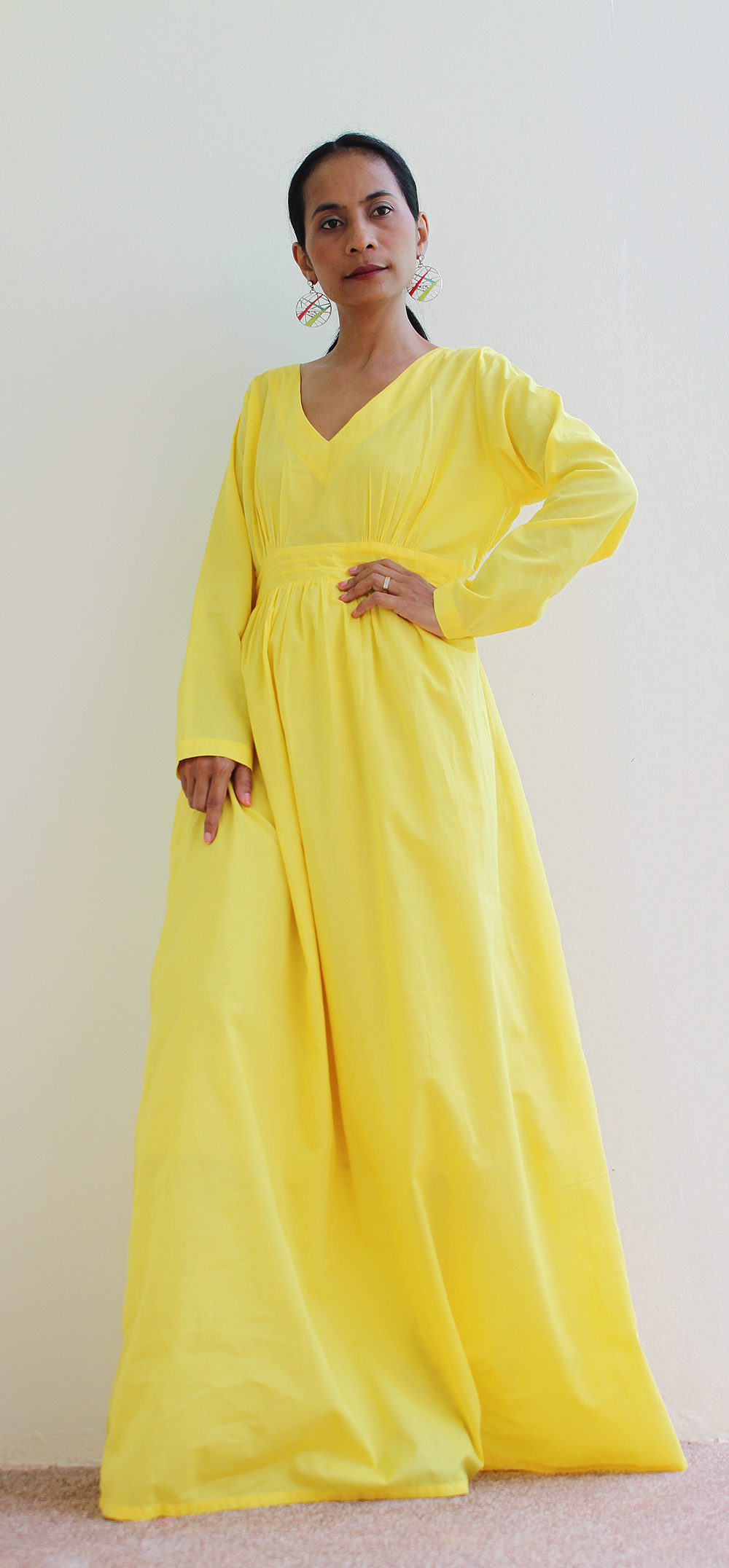 1db6c7eec0d8 Yeloow Maxi Dress - Long Sleeved Maxi Dress : Feel Good Collection ...
