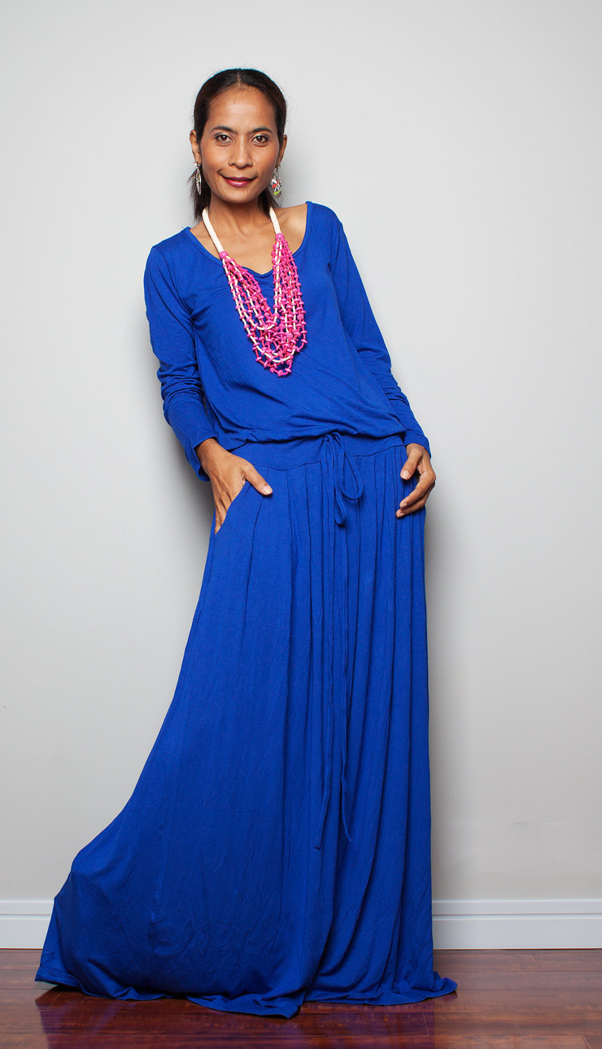 3844990f7b14 Royal Blue Maxi Dress - Long Sleeve Dress on Luulla