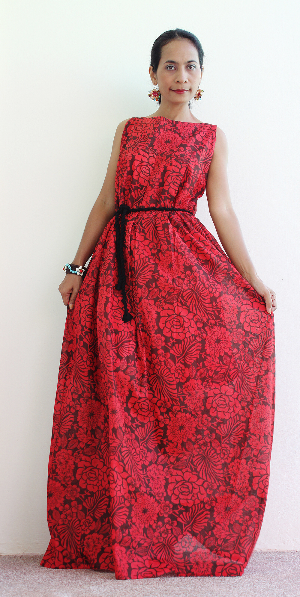 b673736c72 Red Floral Maxi Dress - Sleeveless Summer Dress : Happy Holiday Collection