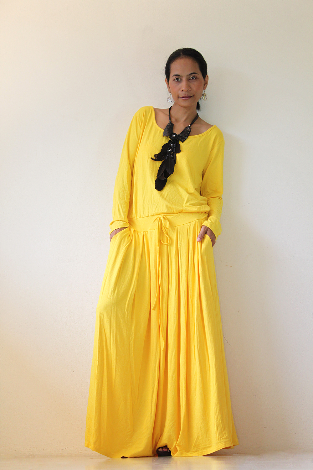 eea75491f863 Yellow Maxi Dress - Long Sleeve Dress on Luulla